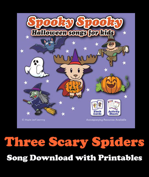 Three Scary Spiders Song Download with Printables