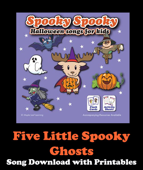 Five Little Spooky Ghosts Song Download with Printables