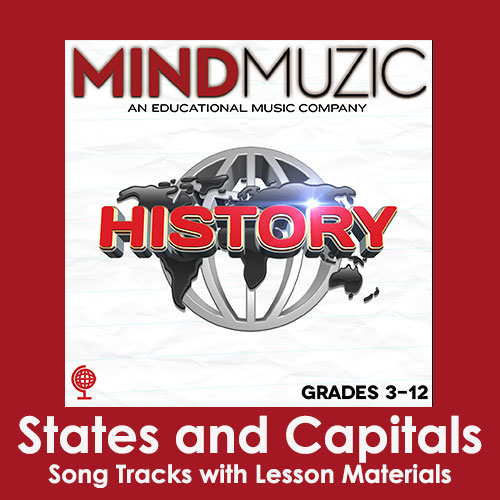 States and Capitals Downloadable Tracks with Lyrics and Quiz