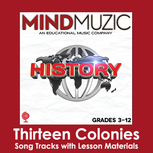 Thirteen Colonies Downloadable Tracks with Lyrics and Quiz