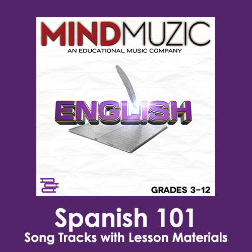 Spanish 101 Downloadable Tracks with Lyrics and Quiz