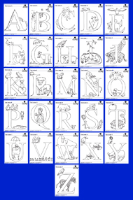 Alphabet Animal Coloring Pages Download Songs for Teaching