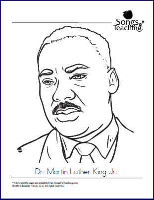 MLK JR Coloring Page Songs For Teaching